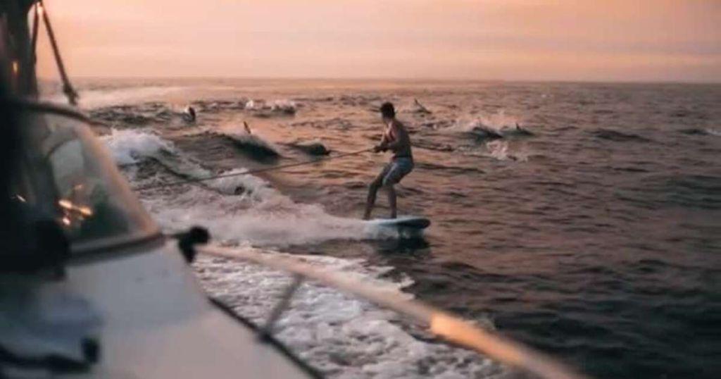 Δεκάδες δελφίνια παίρνουν στο «κυνήγι» έντρομο σέρφερ! | ΒΙΝΤΕΟ